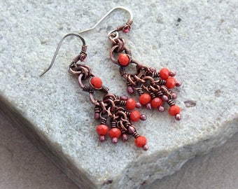 Coral Beaded Chandelier Earrings, Small Size, Antique Copper, Crystals, Wire Wrap, Handcrafted, Canada, Sterling Silver Earwires