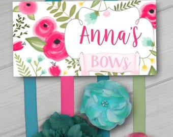 HAIR BOW HOLDER - Personalized Field of Roses HairBow Holder Organizer - Girls Personal Hair Bow Hb0205