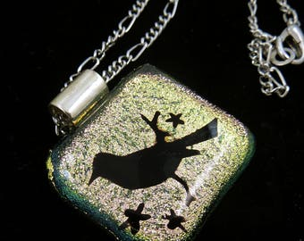 "Handmade Fused Dichroic Glass Bird Necklace.  One of a Kind 22"" or 56 cm Chain."