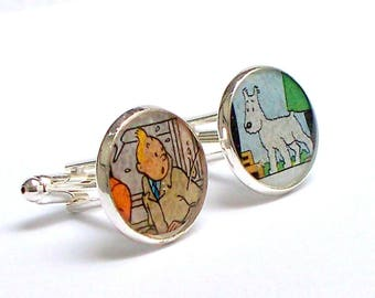 Tintin and Snowy - Cuff Links - Upcycled vintage comics Tintin and Snowy - Recycled into Silver Plated Cufflinks - Guy Gift Dad Gift