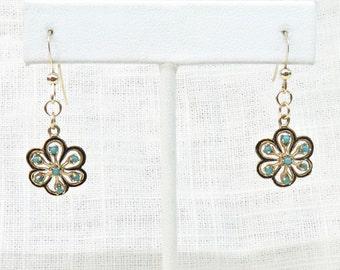 Vintage Earrings in 14K Gold and Enamel; Victorian Earrings; Dangle or Drop Earrings; Blue Turquoise Earrings Natural Gemstones