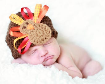 Ribbon Turkey Thanksgiving Baby Hat, First Thanksgiving Baby Turkey Hat, Crochet Turkey Hat, Fall Baby Shower Gift, Fall Baby Hat