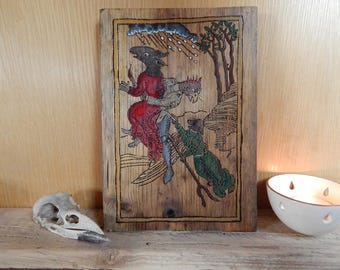Flight of the Transformed Witches. Pyrography of woodcut from Ulrich Molitor's 'De Laniis et Phitonicis Mulieribus'