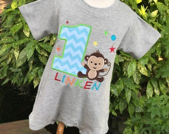 Monkey First Birthday Outfit - Personalized Monkey Romper - Jungle Party - Safari Party - Fun to Be One Party - Monkey Birthday Shirt
