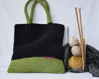 Large  Tote Bag, Crochet tote bag, Black green crochet purse, woman bag, shopping bag, beach bag, handbag, crochet shoulder bag, summer bag