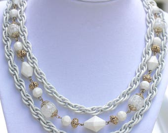 Unique, triple-stranded, mixed material, all white, vintage necklace - blown glass, white chain, metal & plastic