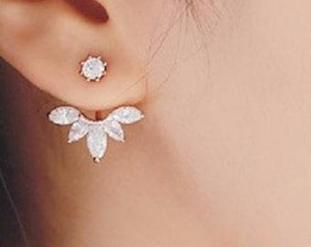Wedding Bridesmaid Clear Crystal Stud Post White Crystal Jacket Post Earrings