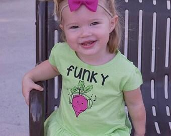 Funky Beet. Girls Ruffle Shirt. Toddler & youth shirt. Vegetable shirt. Music shirt. Cute food clothing