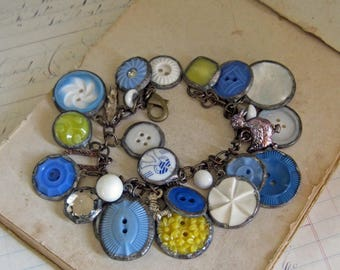 Repurposed Button Charm Bracelet, Retro Handmade Jewelry,  One of a Kind