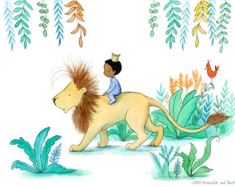 On Safari - African American Boy Riding Lion - Art Print - Children