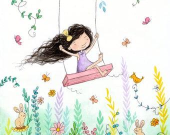 Morning In The Meadow - Brunette Girl on Swing - Art Print