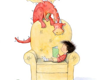 Oslo Reads - Boy and Red Dragon Reading Books - Art Print - Children