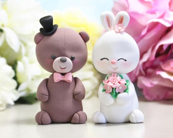 Teddy Bear and Bunny Rabbit wedding cake toppers - funny unique bride groom figurines wedding gift personalized brown white pink