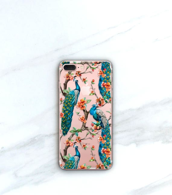 Peacock Pattern Clear Case