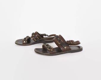 Vintage 60s SANDALS / 1960s Brown Leather Brass Ring Jesus Boho Flat Sandals 10 1/2