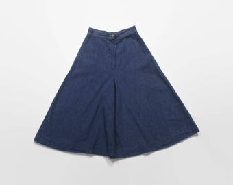 Vintage 70s Denim Culottes / 1970s High Waist Wide Flared Cropped Jeans XS