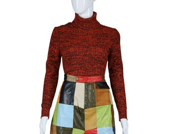 Leather Patchwork Shorts Rainbow Hot Shorts 70s Square Leather Patch Shorts 1970s Shorts
