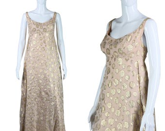1960s Polka Dot Dress Gold Lame Dress Beaded Jeweled Dress 60s Formal Gown Train Back