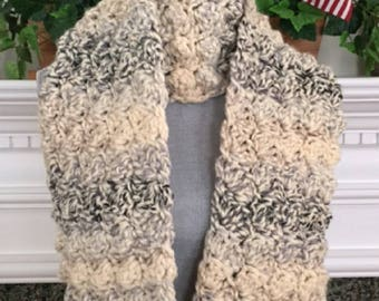 "crochet handmade SUPER bulky chunky yarn long Scarf Soft cozy stylish comfy warm wide moonlight beige gray black 9""x 74"" new"