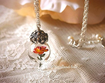 Peace Yellow Pink Rose Flower Glass Terrarium Necklace by Woodland Belle