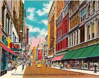 Vintage Boston Postcard - Washington Street in the Downtown Shopping District (Unused)