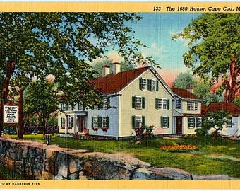 Vintage Cape Cod Postcard - The 1680 House in Yarmouth Port (Unused)