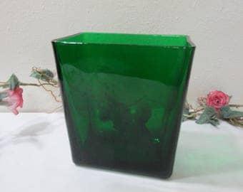 Forest Green Napco Glass Napkin Holder
