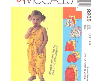 Girls Pleated Top, Pull-On Pants Shorts Bloomers Pattern McCalls 9205 Girls Summer Sewing Pattern Toddler Size 1 2 3 UNCUT