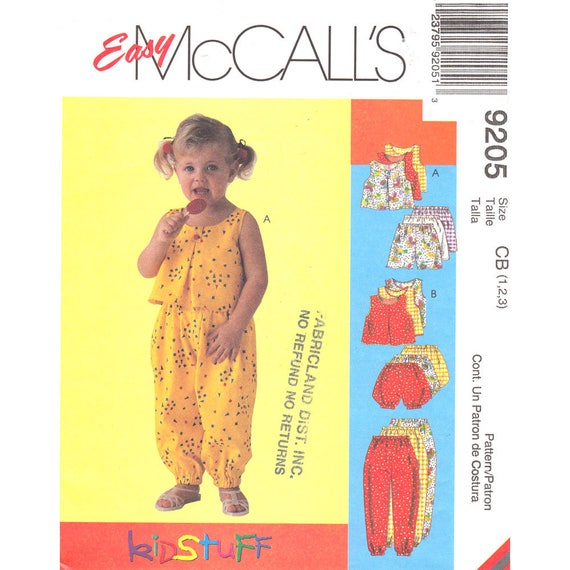 Girls Top Pants Shorts Bloomers Sewing Pattern McCalls 9205 Toddler Size 1 2 3