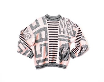 Pastel Sweater Arielle Fairy Kei Kawaii Striped Geometric Letters Numbers All Over Print 1980s Knit Jumper Shirt Top Baby Pink Pullover 80s