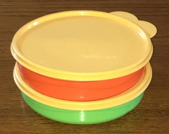 Tupperware MunchKids Microwaveable Divided Dish, Bright Green or Orange, Lunch Box Container, Snack Dish, Tupperware #2552, Seal #227