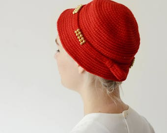 1950s Red Needlepoint Hat