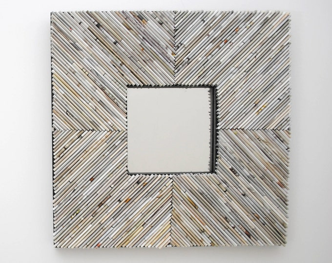 Featured listing image: CHEVRON, off-white, square mirror - made from recycled magazines, pastel,white, grey, neutral,unique, interior design, shabby chic,weathered