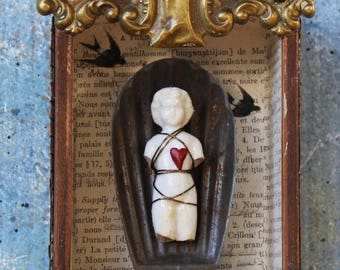 "Assemblage Art Shrine Found Objects Vignette Mixed Media ""Guardian of Love"""