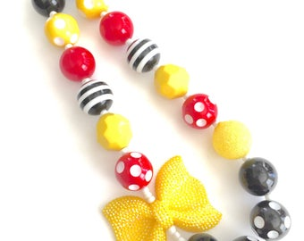 Black red and yellow bow girls necklace. Princess. Minnie inspired. Gift for girls. Bubblegum necklace. Mouse inspired. Glittery bow.