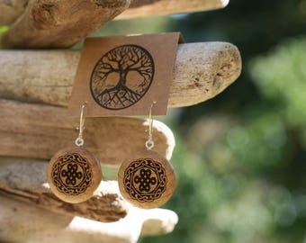 Wooden Love Knot Earrings- Wooden Love Knot/Celtic Knot Earrings- - Natural Wood Jewelry- Eco Earrings
