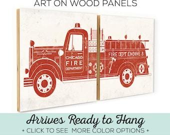 Custom Firetruck - Firefighter Gift - Vintage Fire Truck Wall Art - Firefighter Wall Art - Custom Fire Truck - Fire Truck Baby - Firetruck