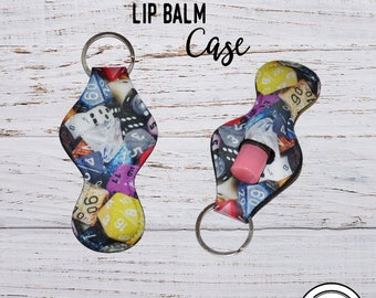 Lip Balm Keychain Case, RPG Dice Gamer Chap stick Key Ring Carrying Cozy Holder