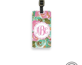 Luggage Tag,  Name or Monogram on Front, Printed Personalization Address on Back Single tag Pinks and Greens Floral Chic