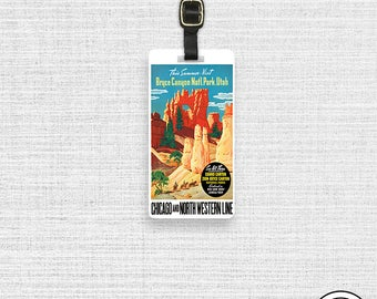 Luggage Tag  Vintage Travel Poster Bryce Canyon National Park Metal Luggage Tag Info On Back, Single Tag