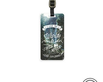 Luggage Tag Love the World Never stop Exploring Metal Luggage Tag With Custom Info On Back, Single Tag