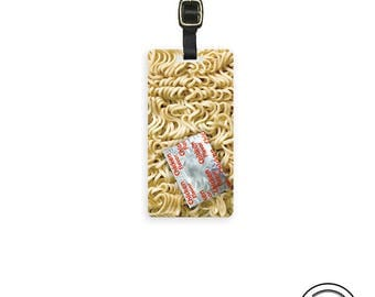 Luggage Tag Ramen Noodles Funny Food,  Printed Personalized Metal Tag, Single Tag   Custom information on Backs