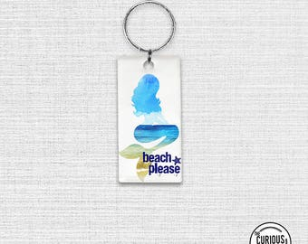 Keychain Please Mermaid Summer Funny Acrylic Key Ring Keychain 1.5 x 3 Inch