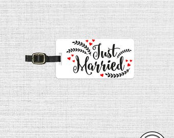 Luggage Tag Just Married Metal Luggage Tag  With Printed Custom Info Single Tag