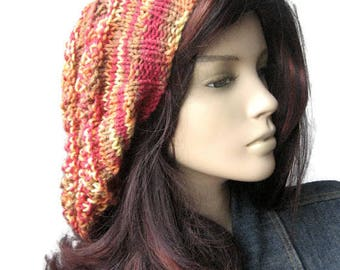 Hand Knit Hat, Multicolor Pink,Orange Lace Striped Slouchy Hat, Fall Accessories, Stacey Hat, Knit Slouchy Beanie, Womens Hat, Vegan Knits