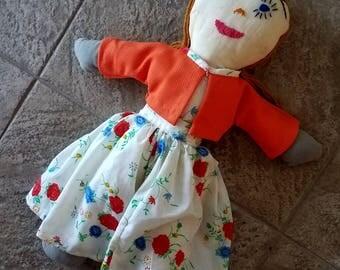 Vintage Primitive Rag Doll Handmade Yarn Hair Embroidered Face