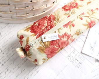 Red and Cream Floral Pencil Case Boxy Pouch Red Floral Zipper Pouch Red and Cream Pencil Bag