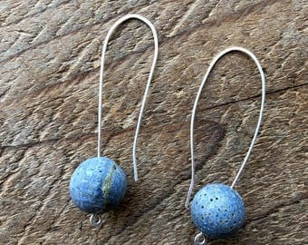 Open Hoop Sterling Silver Wire Earrings With Large Rond Blue Coral Beads
