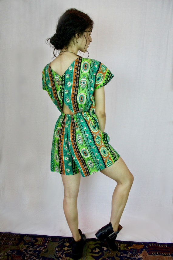 Cutout Back Tribal Print Romper - Custom and Handmade