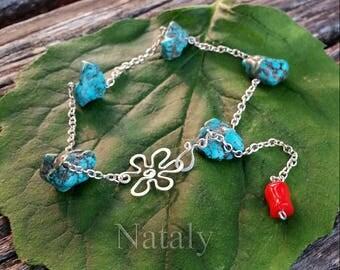 Turquoise Bracelet, Sterling Silver Dainty Bracelet for Women, Bracelet Femme, Flower Bracelet, December Birthstone Gemstone Bracelet